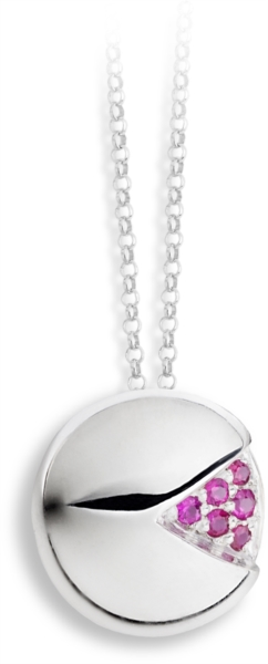 Necklace with rubies PAC-MAN pendant