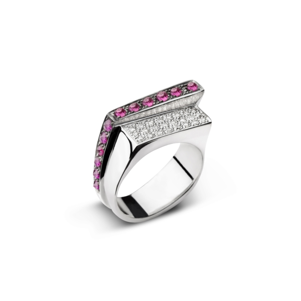 Ring for man with diamonds and rubies