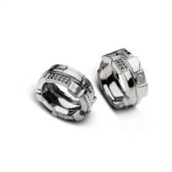 Anello fascia doppio lato, diamanti e diamanti neri [Man Collection]