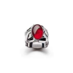 Ring with red cabochon quartz [Man Collection]