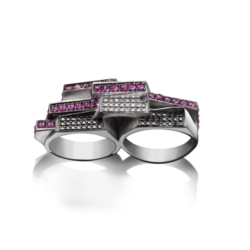 Double ring in argento 925 con rubini, diamanti e diamanti black [Chaos Collection]