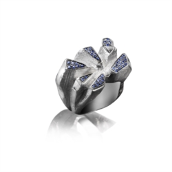 Anello in Argento 925 con Zaffiri Blu [Chaos Collection]